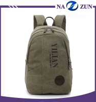 Popular large capacity waterproof material men khaki fabric canvas backpack laptop