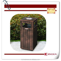 wood-like metal garbage container