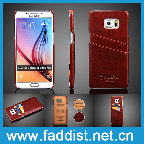 PU leather oil wax pattern phone leather case for samsung galaxy s6 plus edge