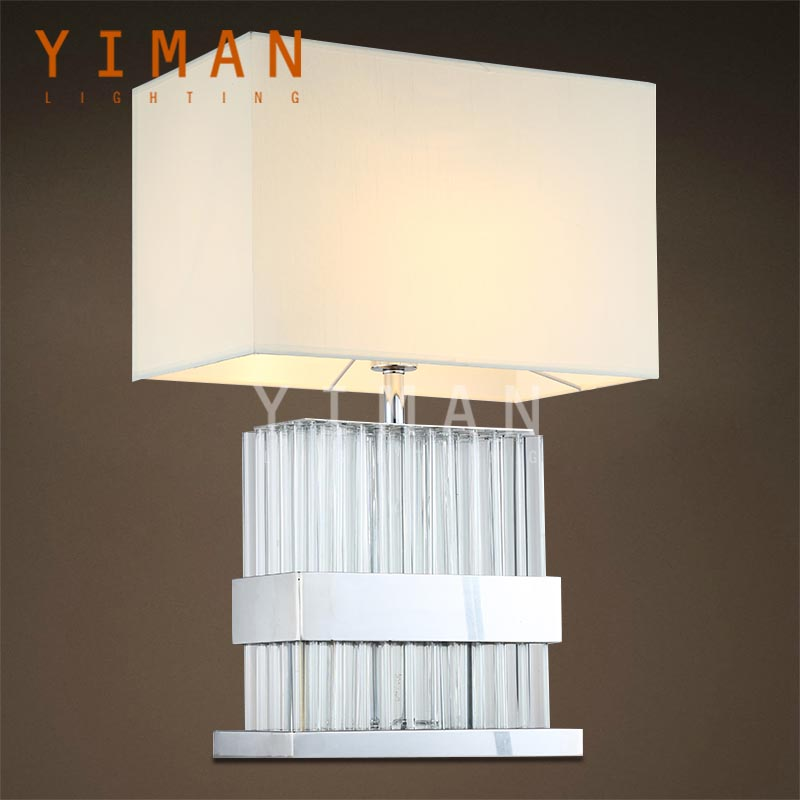 Customized Design Silver Stainless Steel Crystal Fabric Table Lamps