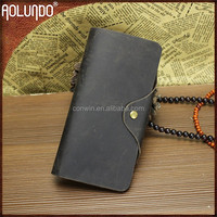 Newest China manufacture wholesale long style brown color durable leather men designer wallets