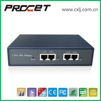 -40C to 65C 6KV Surge Protection Gigabit 48V dual PoE Injector