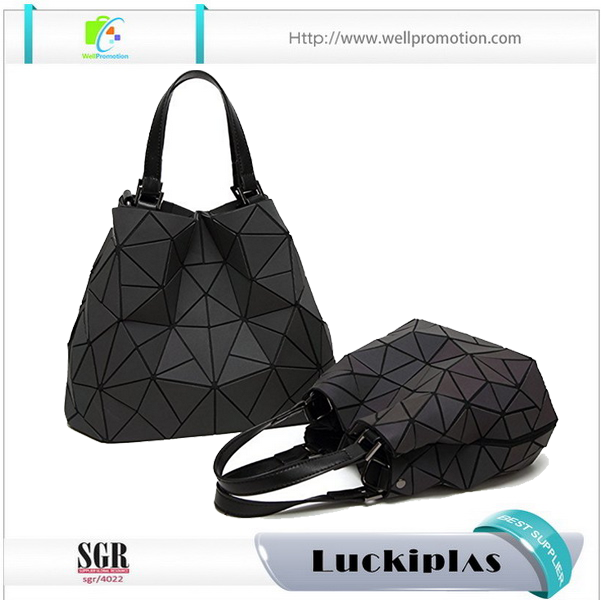 Japanese style foldable and changeable Stereo Geometry women big PVC handbags
