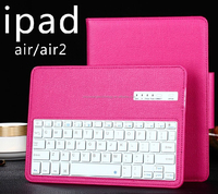 New fashion portable folding stand bluetooth keyboard PU leather rose pink case for Ipad 4