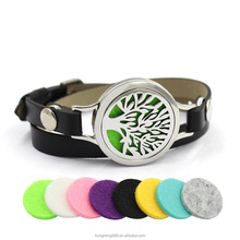 New Design Fashion Custom Essential Oil Diffuser Aroma Pendant Wrist Genuine Leather Locket Bracelet