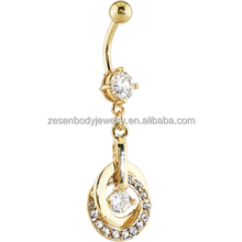Unique wholesale clear crystal gold titanium belly ring body jewelry