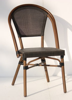 wood grain looking all-weather stackable french cafe chairs