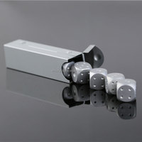 Silver Metal Gambling Dice Set 16mm Portable Aluminum Dice Board Game Dices For Bar KTV Party