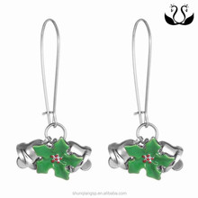 2015 Hot selling Christmas Long Bell Green Enamel latest hanging earrings
