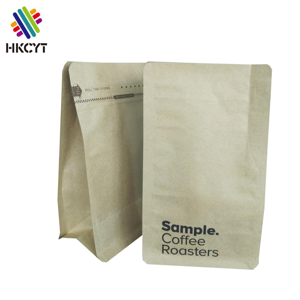 Food grade kraft paper coffee bean packaging bag flat bottom foil lined coffee bag with one way valve