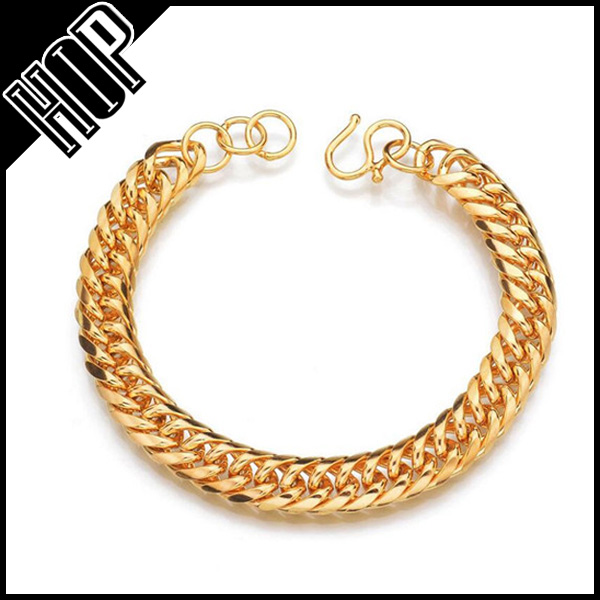 Unisex Plain 24k Gold Stainless Steel Dense Cuban Chain Bracelet