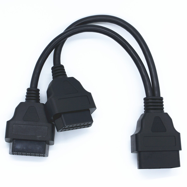 OBDII OBD 2 1 To 2 J1962 Y Cable Female 16 Pin Splitter Extension Auto Car Connector OBD 16PIN Connector 8Pin Cable