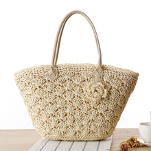 Barlaycs 2017 Summer Beach Bag Straw Large Zipper Woven Straw Handbags Casual Big Shoulder Bag Women Flowers Fashion Ladies Tote