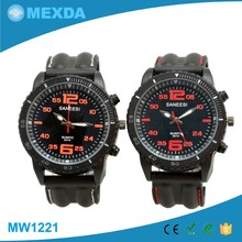 High quality silicone q&q quartz watch water resist 5 bar with date