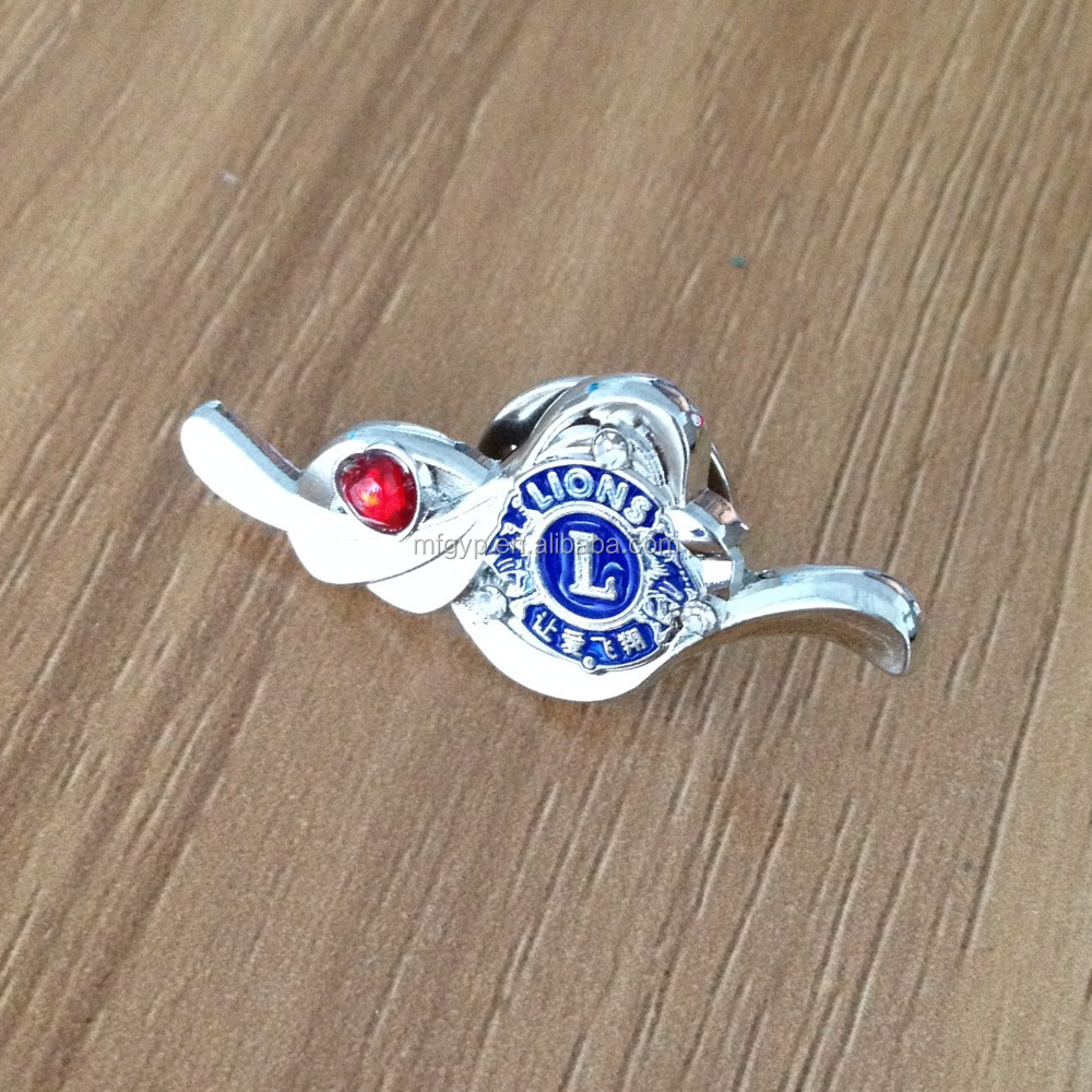 custom military security metal pin badge with acrylic stone