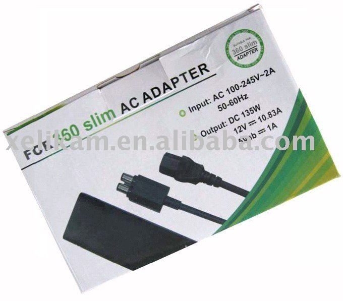 For XBOX 360 Slim power AC Adapter for XBOX 360 slim power adapter(USA/UK/EU)