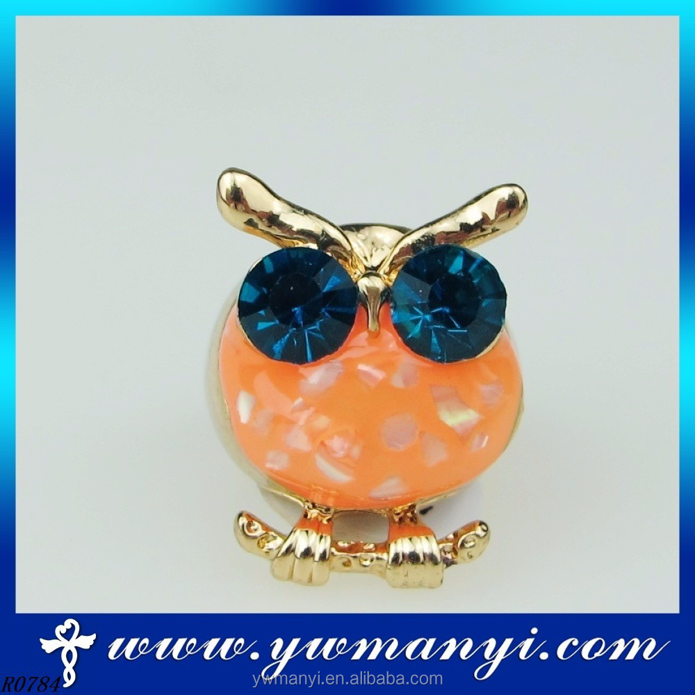 Retro Cute Owl Ring Metal Finger Ring Antique Silver With Deep Blue Crystal Jewelry R0784