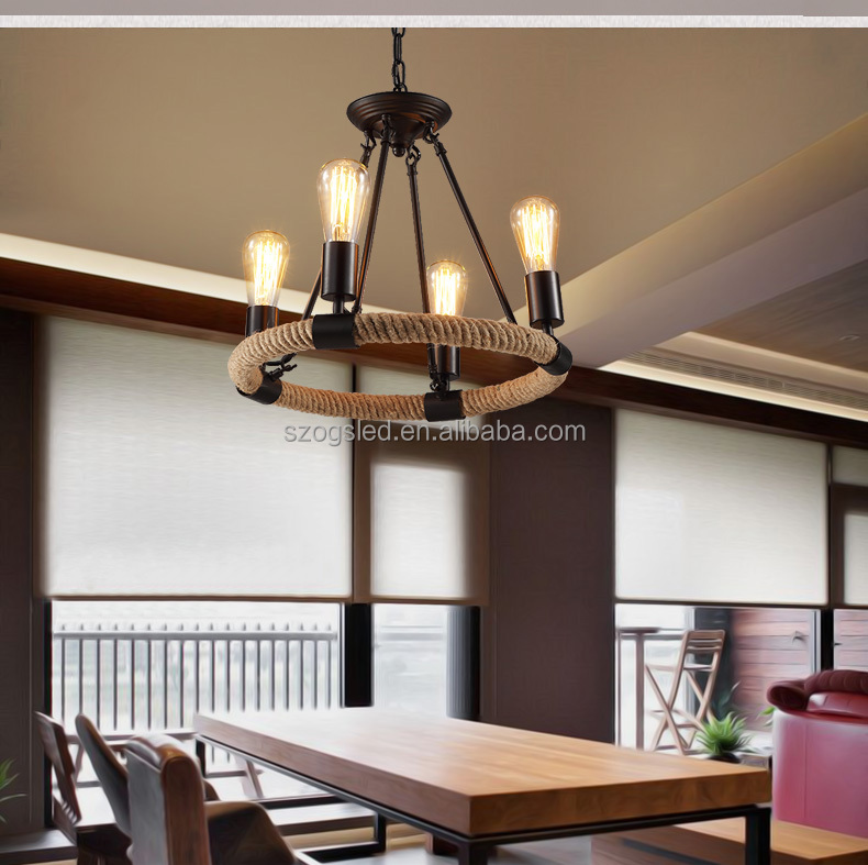Antique Rope Lamp Lights and Lightings Home Decor / Hotel Project Industrial Rope Pendant Lamp