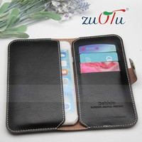 Customized logo universal leather cover with card for mobile phone