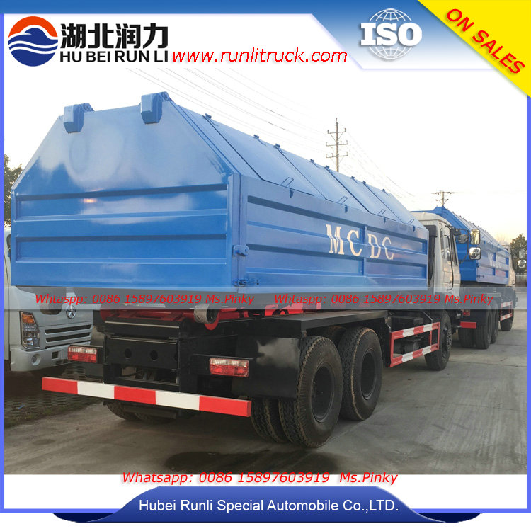 25cbm Hook Lift Garbage Truck with Rear Loader Container Good Price For Sales
