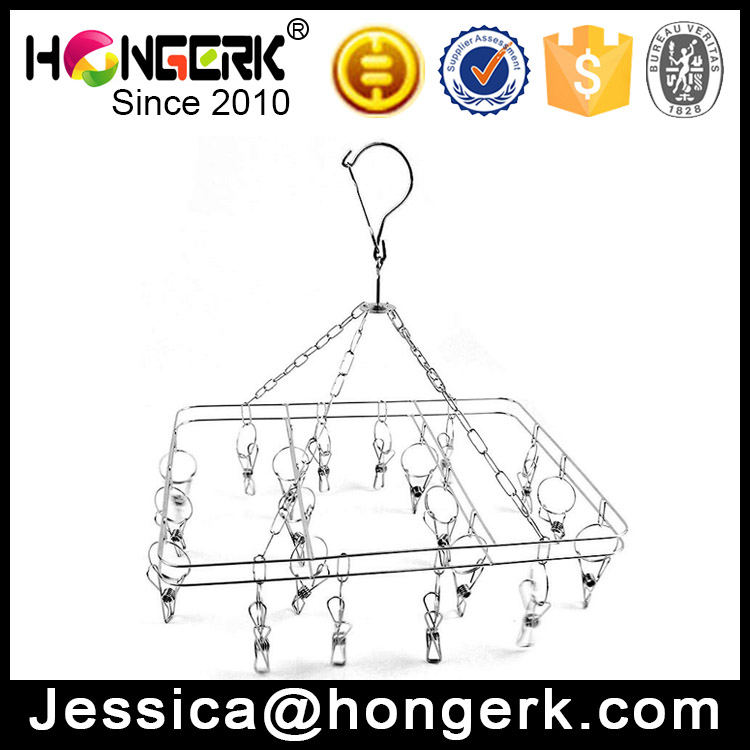 stainless steel hanging underwear and sock hanger with clips