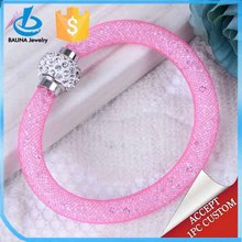 Pink mesh magnetic clasp stardust bracelet