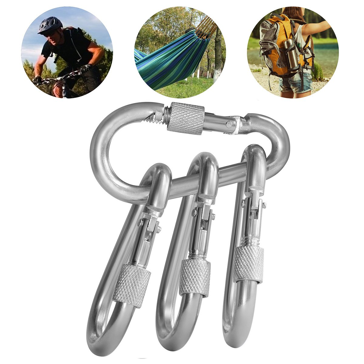BT-245S Excellent Climbing Steel Electric Galvanized Climbing Carabiner 7mm With Screw Steel Spring Carabiner Snap Hook