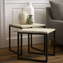 Simple style living room industrial lighted end table with metal frame