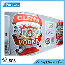 Custom adhesive silver foil paper Vodka labels for glass bottle