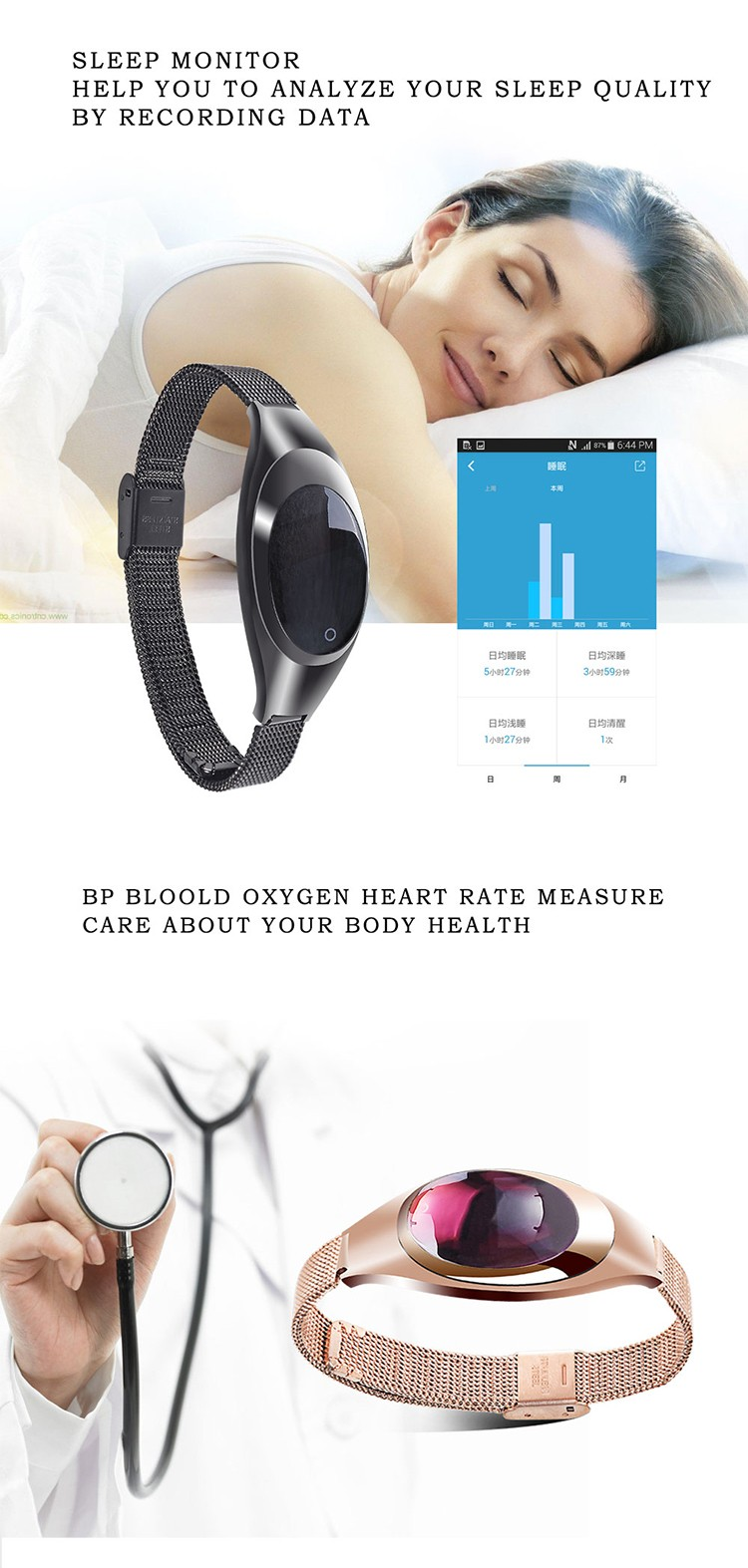 Z18 Blood oxygen testing MPU6500 6-axis G-sensor heart rate sensor CH-NRF21822 bt wrist band