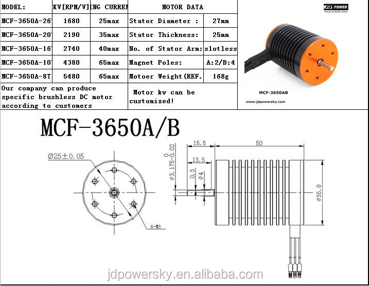 JD-power MCF-3650AB inrunner brushless coreless dc motor for electric tool