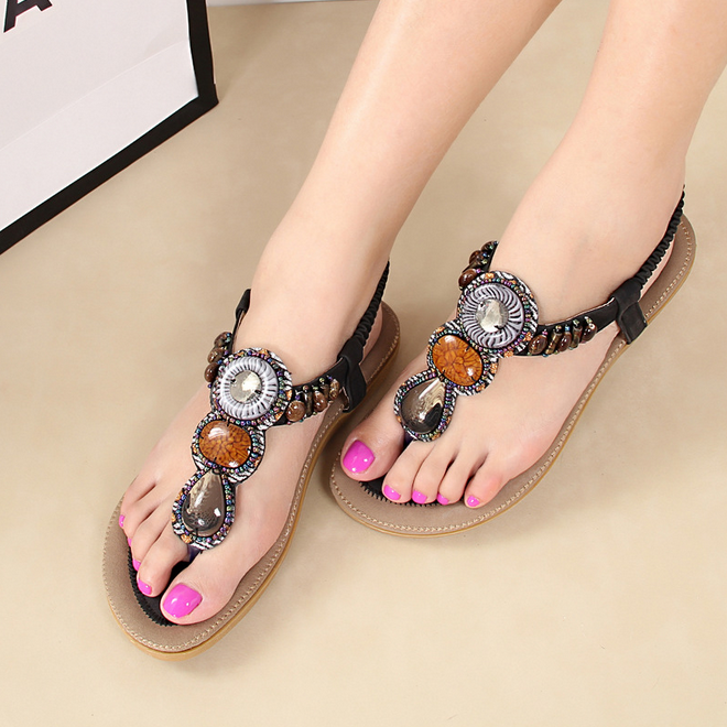 SAA3357 Bohemia style women sandals shoes latest 2015 summer fancy hand beaded ladies comfortable flat flip flops sandals