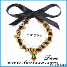 Black ribbon bow tied girl's love handmade DIY Christmas theme bracelets