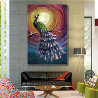 2017 Hot Item Best Quality Cheap Price Animal Series peacock ink Painting On Canvas For Living Room