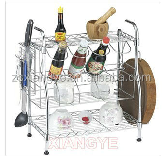HKJ-C057A 3 Tiers Multi-function Chrome Plated Wire Dish Rack