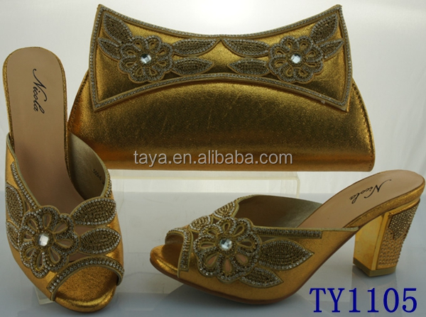 New arrival italian shoes with matching bags TY1105 gold