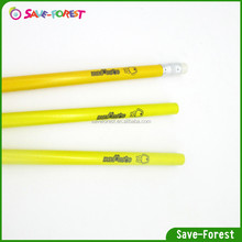 Pencil manufactured from recycled newspaper with logo imprinting