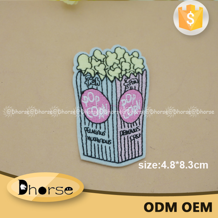 Fancy food shape patch pop corn embroidery patch for garment
