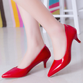 Korean style fashion women shoes western wholesale pointed shiny high heels elegant OL ladies work shoes