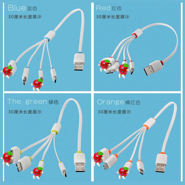 High speed usb multi charge cable mobile usb cable 4 in 1 charging cable