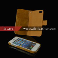 Classy cards slot detachable real cowhide leather case wallet cover for iphone 5 case