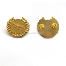 Challenge Metal Custom 3D 24K Gold Peace Dove Ear of Wheat Brooch Pins