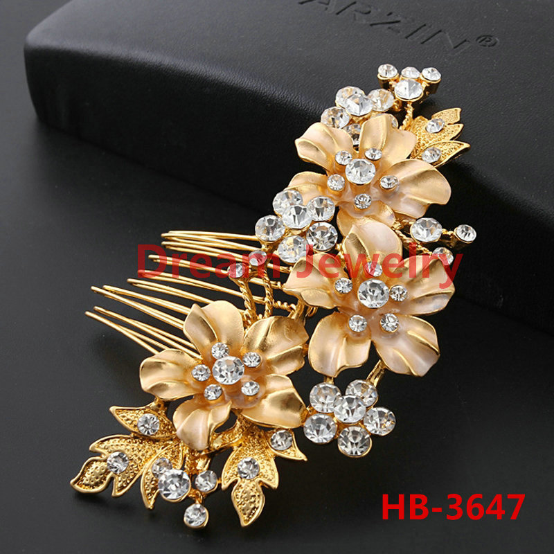 Gold Silver Plated Luxury Beauty Crystal Wedding Hair Accessories Flower Head Pieces Jewelry Leaf Vintage Hair Combs For Brides