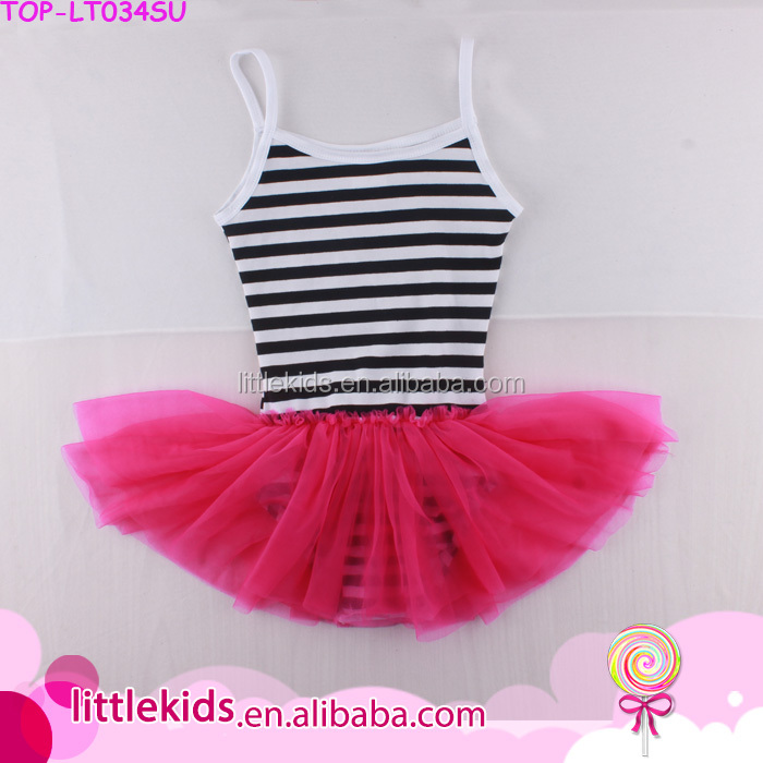 2017 Factory Wholesale Newest Gymnastics Unitard Dance Ballet Black Stripes Watermelon Tulle Skirt Leotard For Girls
