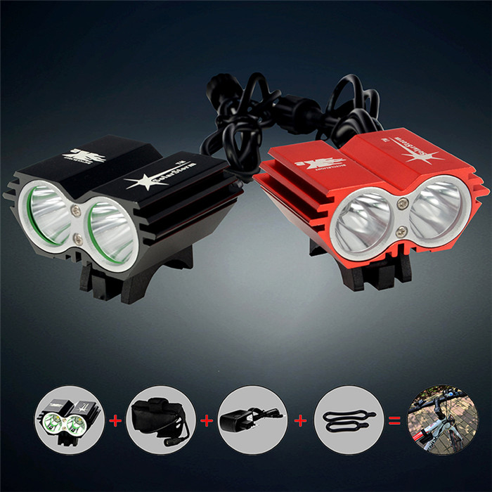 X2 CREE XM-L <strong>U2</strong> 5000Lm Waterproof <strong>LED</strong> Bicycle <strong>Light</strong> <strong>Led</strong> Headlight Lamp Flashlight With Rechargable Battery + Charger