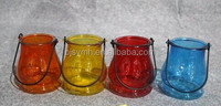 printed colors small glass lantern candle holder