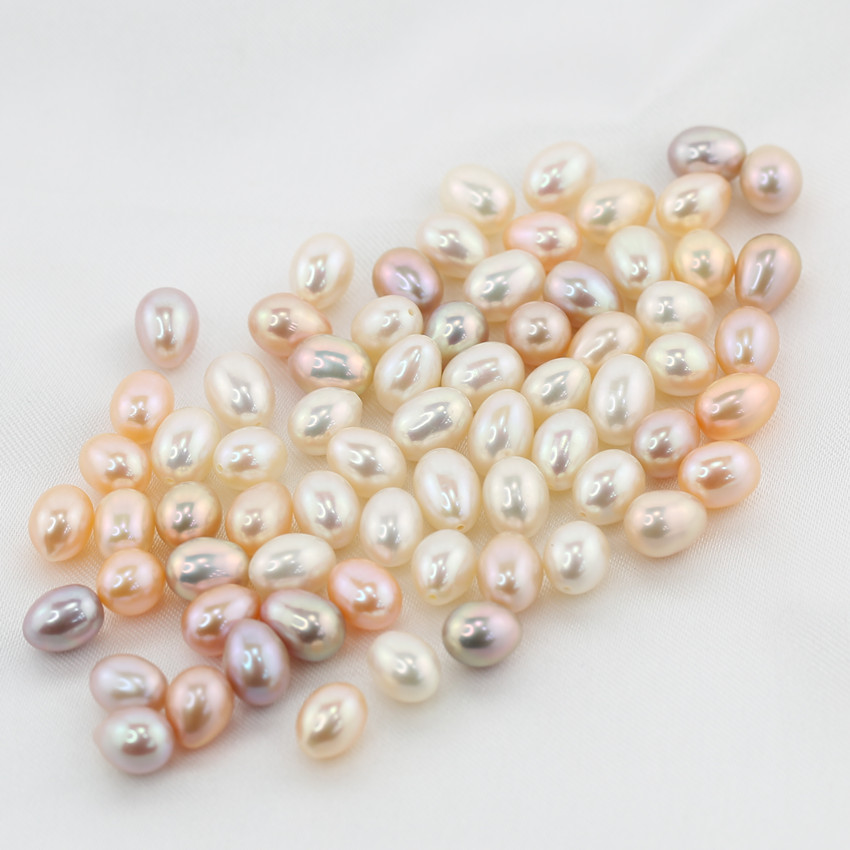 7-8mm AAA grade pearl rice zhuji pearl farms teardrop pearl beads freshwater pearls half drill