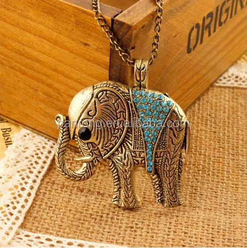 Europe &USA restore jewelry wholesale, fashion groove colorful elephant long necklace, Women sweat necklace