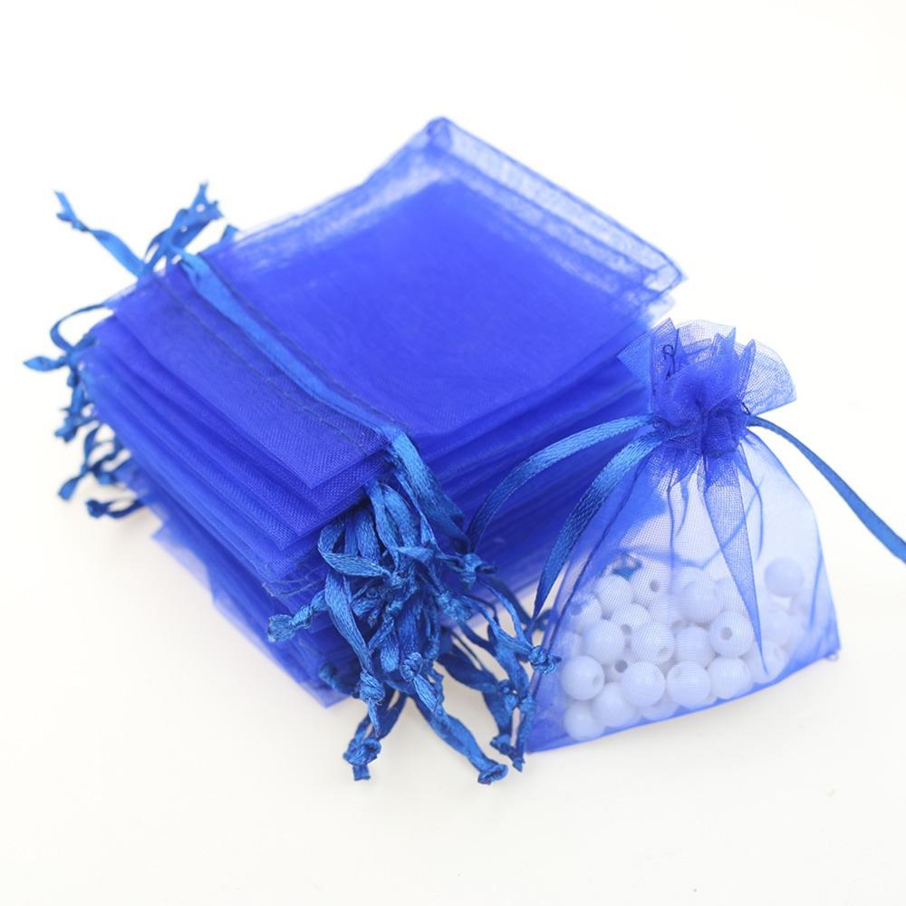 Blue wedding gift organza pouch candy bags wholesale