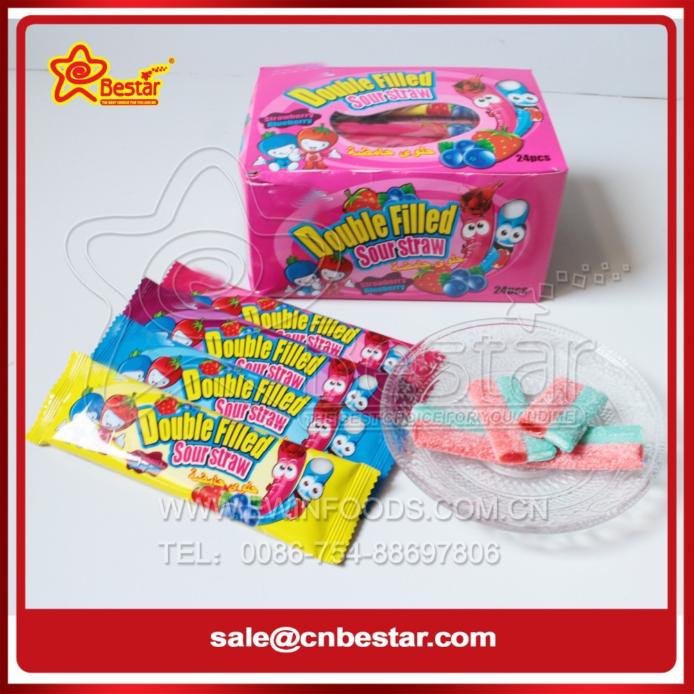 Sour Jelly Gummy Stick Candy Filled With Sour Powder And Fruit Jam